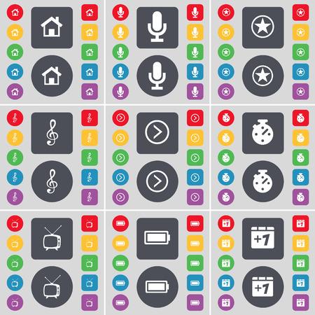 arrow right: Casa, Microfono, Stella, di violino, Freccia destra, cronometro, Retro TV, batteria, pi� un simbolo. Un grande insieme di piatti, pulsanti colorati per il vostro disegno. Illustrazione vettoriale Vettoriali