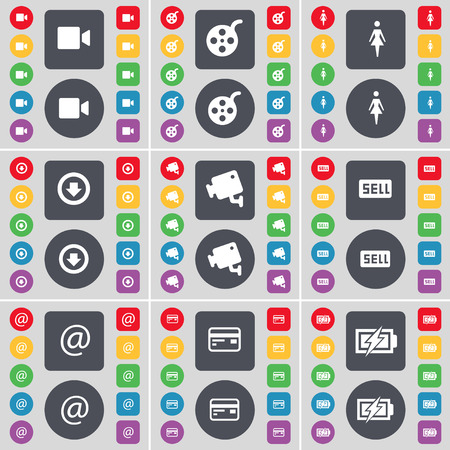 arrow down: Film camera, Videotape, Silhouette, Arrow down, CCTV, Sell, Mail, Credit card, Charging icon symbol. A large set of flat, colored buttons for your design. Vector illustration