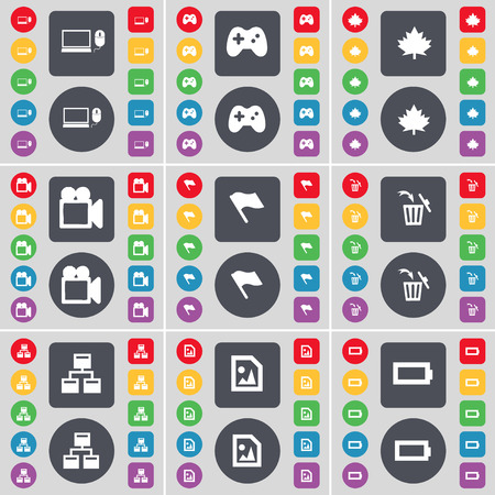 network and media: Laptop, Gamepad, Maple leaf, Film camera, Flag, Trash can, Network, Media file, Battery icon symbol. A large set of flat, colored buttons for your design. Vector illustration
