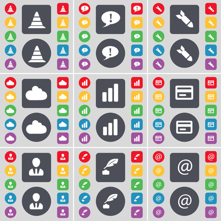 ink pot: Cone, Chat bubble, Rocket, Cloud, Diagram, Credit card, Avatar, Ink pot, Mail icon symbol. A large set of flat, colored buttons for your design. Vector illustration