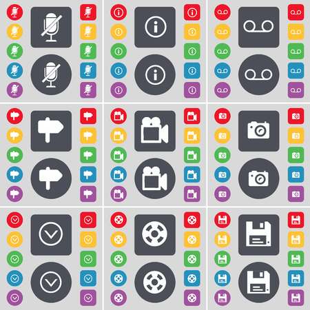 videotape: Microphone, Information, Cassette, Signpost, Film camera, Camera, Arrow down, Videotape, Floppy icon symbol. A large set of flat, colored buttons for your design. Vector illustration Illustration