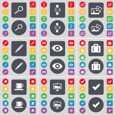 watch glass: Magnifying glass, Wrist watch, Picture, Pencil, Vision, Suitcase, Cup, Graph, Tick icon symbol. A large set of flat, colored buttons for your design. Vector illustration