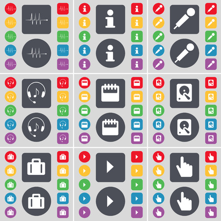 hard drive: Pulse, Information, Microphone, Headphones, Calendar, Hard drive, Suitcase, Media play, Hand icon symbol. A large set of flat, colored buttons for your design. Vector illustration