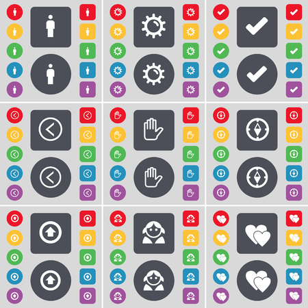 left hand: Silhouette, Gear, Tick, Arrow left, Hand, Compass, Arrow up, Avatar, Heart icon symbol. A large set of flat, colored buttons for your design. Vector illustration