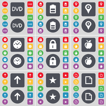 checkpoint: DVD, Battery, Checkpoint, Clock, Lock, Apple, Arrow, Star, File icon symbol. A large set of flat, colored buttons for your design. Vector illustration