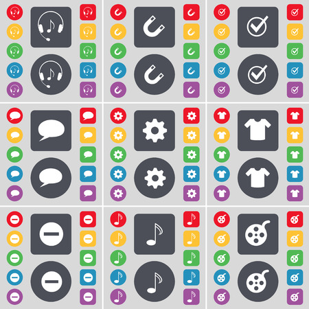 videotape: Headphones, Magnet, Tick, Chat bubble, Gear, T-Shirt, Minus, Note, Videotape icon symbol. A large set of flat, colored buttons for your design. Vector illustration