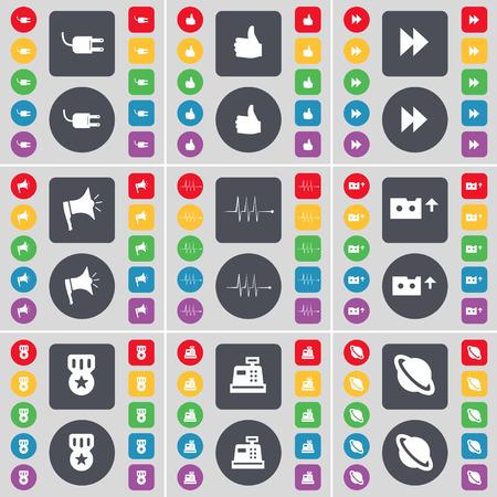 medal like: Socket, Like, Rewind, Megaphone, Pulse, Cassette, Medal, Cash register, Planet icon symbol. A large set of flat, colored buttons for your design. Vector illustration Illustration