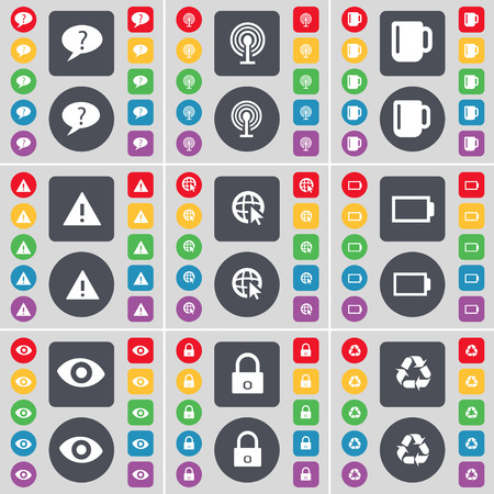 chat bubble: Chat bubble, Wi-Fi, Cup, Warning, Web cursor, Battery, Vision, Lock, Recycling icon symbol. A large set of flat, colored buttons for your design. Vector illustration