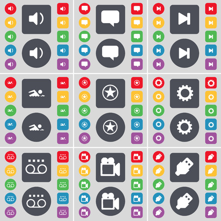 chat bubble vector: Sound, Chat bubble, Media skip, Swimmer, Star, Gear, Cassette, Film camera, USB icon symbol. A large set of flat, colored buttons for your design. Vector illustration