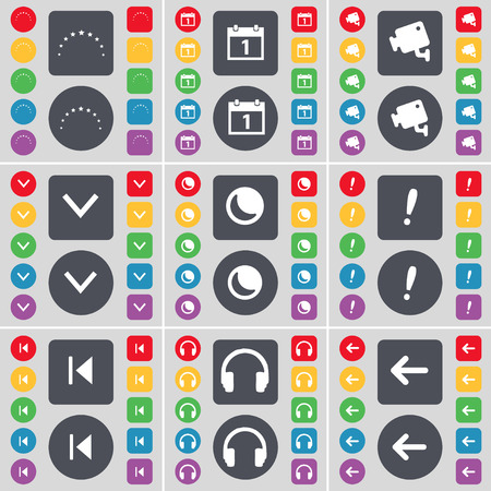arrow left icon: Star, Calendar, CCTV, Arrow down, Moon, Exclamation mark, Media skip, Headphones, Arrow left icon symbol. A large set of flat, colored buttons for your design. Vector illustration
