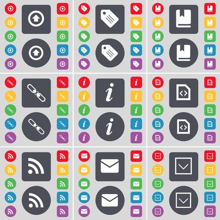 arrow down icon: Arrow right, Tag, Dictionary, Link, Information, File, RSS, Message, Arrow down icon symbol. A large set of flat, colored buttons for your design. Vector illustration