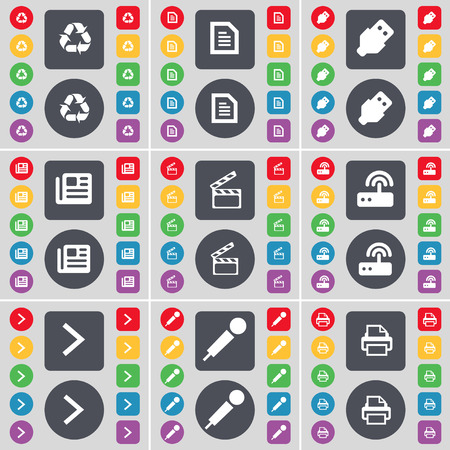 arrow right: Riciclaggio, file di testo, USB, giornali, Clapper, Router, Freccia destra, Microfono, icona della stampante simbolo. Un grande insieme di piatti, pulsanti colorati per il vostro disegno. Illustrazione vettoriale