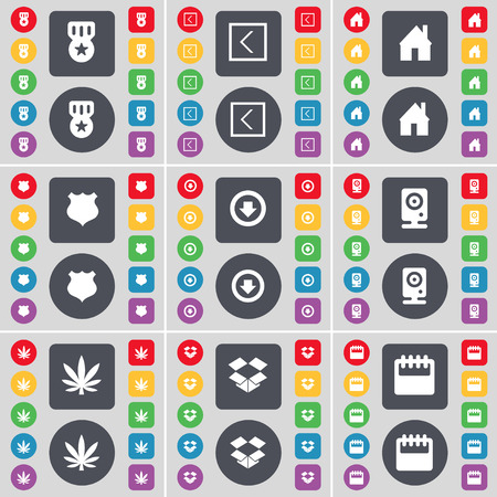 dropbox: Medal, Arrow left, House, Police badge, Arrow, Speaker, Marijuana, Dropbox, Calendar icon symbol. A large set of flat, colored buttons for your design. Vector illustration