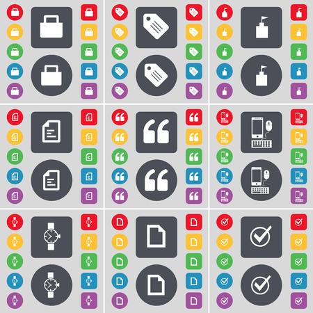 orologio da polso: Lock, Tag, Bandiera torre, file di testo, Virgolette, Smartphone, Orologio da polso, File, Tick icona simbolo. Un grande insieme di piatti, pulsanti colorati per il vostro disegno. Illustrazione vettoriale