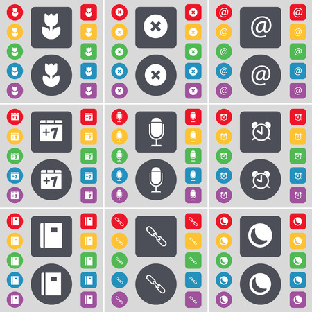 moon flower: Flower, Stop, Mail, Plus one, Microphone, Alarm clock, Notebook, Link, Moon icon symbol. A large set of flat, colored buttons for your design. Vector illustration