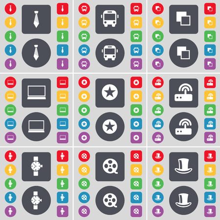 silk hat: Tie, Bus, Copy, Laptop, Star, Router, Wrist watch, Videotape, Silk hat icon symbol. A large set of flat, colored buttons for your design. Vector illustration