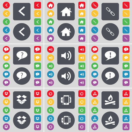 dropbox: Arrow left, House, Link, Chat bubble, Sound, Dropbox, Smartphone, Campfire icon symbol. A large set of flat, colored buttons for your design. Vector illustration