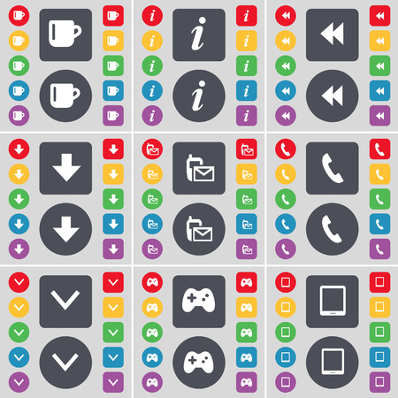 arrow down: Cup, Information, Rewind, Arrow down, SMS, Receiver, Arrow down, Gamepad, Tablet PC icon symbol. A large set of flat, colored buttons for your design. Vector illustration