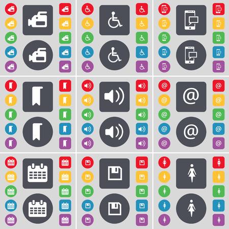 personne handicap�e: Appareil photo argentique, handicap�s, SMS, Marker, Sound, Mail, Calendrier, Floppy, Silhouette symbole de l'ic�ne. Un vaste ensemble de plats, des boutons de couleur pour votre conception. Vector illustration Illustration