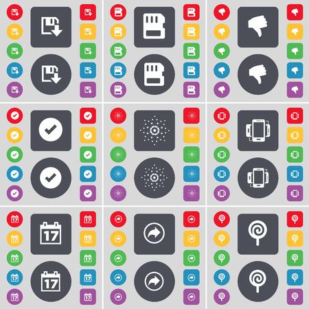 sim card: Floppy, SIM card, Dislike, Tick, Star, Smartphone, Calendar, Back, Lollipop icon symbol. A large set of flat, colored buttons for your design. Vector illustration