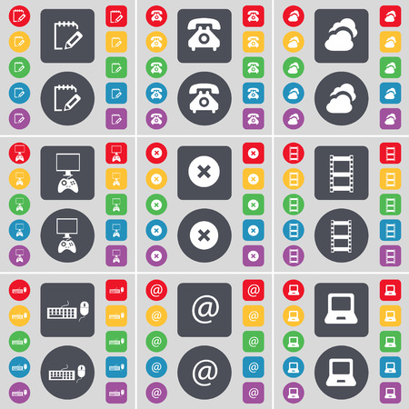 game console: Survey, Retro phone, Cloud, Game console, Stop, Negative films, Keyboard, Mail, Laptop icon symbol. A large set of flat, colored buttons for your design. Vector illustration Illustration