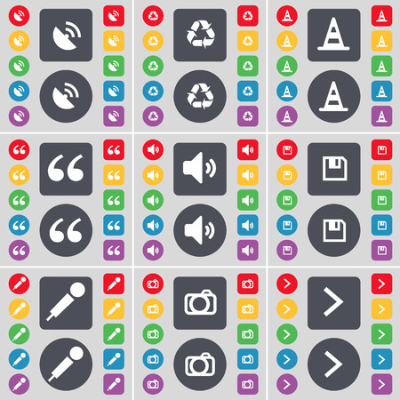 arrow right icon: Satellite dish, Recycling, Cone, Quotation mark, Sound, Floppy, Microphone, Camera, Arrow right icon symbol. A large set of flat, colored buttons for your design. Vector illustration