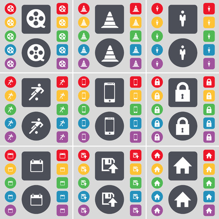 videotape: Videotape, Cone, Silhouette, Football, Smartphone, Lock, Calendar, Floppy, House icon symbol. A large set of flat, colored buttons for your design. Vector illustration