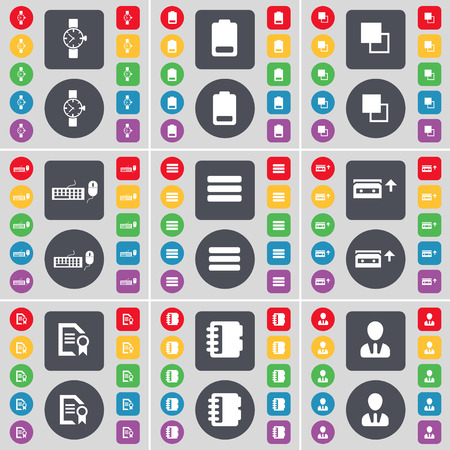 orologio da polso: Wrist watch, Battery, Copy, Keyboard, Apps, Cassette, Text file, Notebook, Avatar icon symbol. A large set of flat, colored buttons for your design. Vector illustration Vettoriali