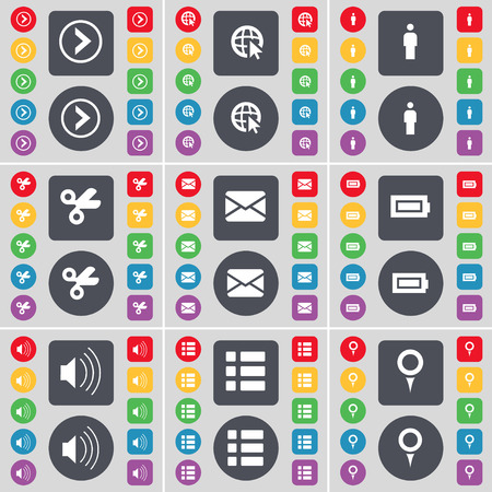 checkpoint: Arrow right, Web cursor, Silhouette, Scissors, Message, Battery, Sound, List, Checkpoint icon symbol. A large set of flat, colored buttons for your design. Vector illustration