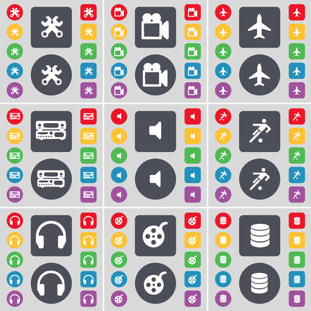 videotape: Wrench, Film camera, Airplane, Record-player, Sound, Football, Headphones, Videotape, Database icon symbol. A large set of flat, colored buttons for your design. Vector illustration