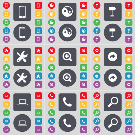 wrech: Smartphone, Tin-Yang, Signpost, Wrech, Magnifying glass, Back, Laptop, Receiver, Magnifying glass icon symbol. A large set of flat, colored buttons for your design. Vector illustration
