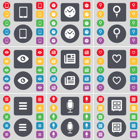bedtable: Tablet PC, Clock, Checkpoint, Vision, Newspaper, Heart, Apps, Microphone, Bed-table icon symbol. A large set of flat, colored buttons for your design. Vector illustration