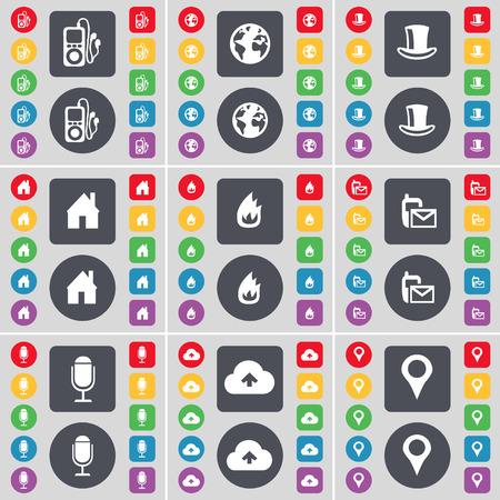 incendio casa: Reproductor de MP3, la Tierra, el sombrero de seda, Casa, Fuego, SMS, Micr�fono, Nube, Checkpoint icono de s�mbolo. Un gran conjunto de planos botones, colores para su dise�o. Ilustraci�n vectorial Vectores