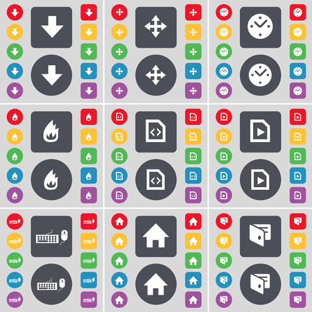 freccia giù: Arrow down, Moving, Clock, Fire, File, Media file, Keyboard, House, Wallet icon symbol. A large set of flat, colored buttons for your design. Vector illustration