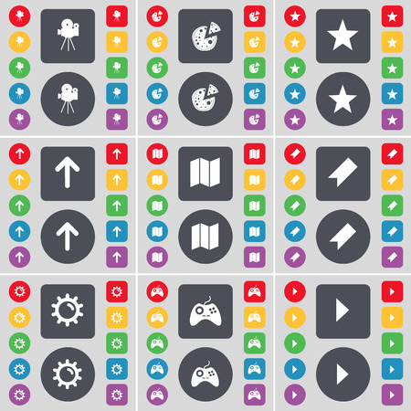 starr: Film camera, Pizza, Starr, Arrow up, Map, Marker, Gear, Gamepad, Media play icon symbol. A large set of flat, colored buttons for your design. Vector illustration