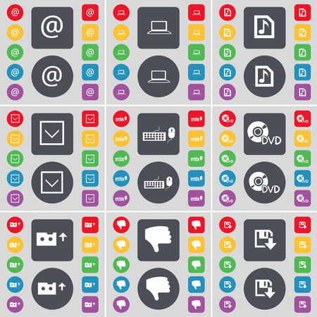 freccia giù: Mail, Laptop, Music file, Arrow down, Keyboard, DVD, Cassette, Dislike, Floppy icon symbol. A large set of flat, colored buttons for your design. Vector illustration Vettoriali