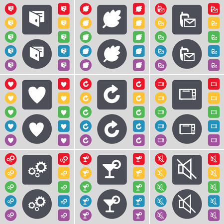 heart gear: Wallet, Leaf, SMS, Heart, Reload, Microwave, Gear, Cocktail, Mute icon symbol. A large set of flat, colored buttons for your design. Vector illustration Illustration