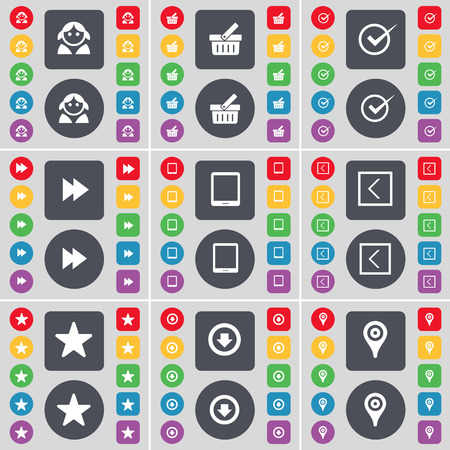 checkpoint: Avatar, Basket, Tick, Rewind, Tablet PC, Arrow left, Star, Arrow down, Checkpoint icon symbol. A large set of flat, colored buttons for your design. Vector illustration