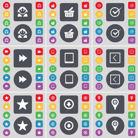 freccia giù: Avatar, Cestino, Tick, Rewind, Tablet PC, Freccia sinistra, Stella, Freccia gi�, Checkpoint icona simbolo. Un grande insieme di piatti, pulsanti colorati per il vostro disegno. Illustrazione vettoriale