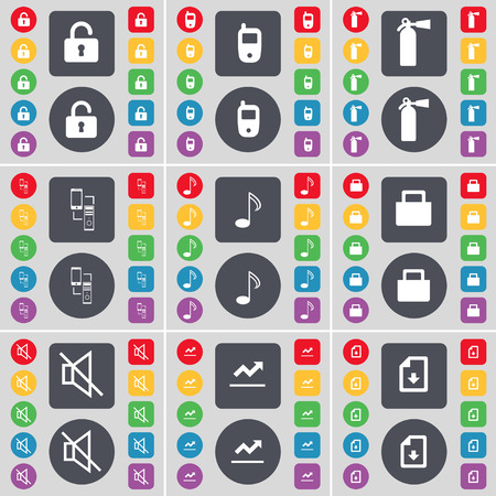 fire extinguisher symbol: Lock, Mobile phone, Fire extinguisher, Connection, Note, Lock, Mute, Graph, File icon symbol. A large set of flat, colored buttons for your design. Vector illustration Illustration