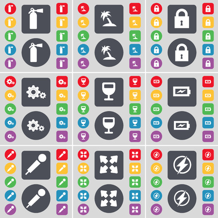 full screen: Fire extinguisher, Palm, Lock, Gear, Wineglass, Charging, Microphone, Full screen, Flash icon symbol. A large set of flat, colored buttons for your design. Vector illustration Illustration