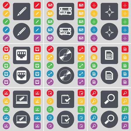 magnifying glass icon: Pencil, Record-player, Compass, LAN socket, Disk, File, Laptop, Survey, Magnifying glass icon symbol. A large set of flat, colored buttons for your design. Vector illustration