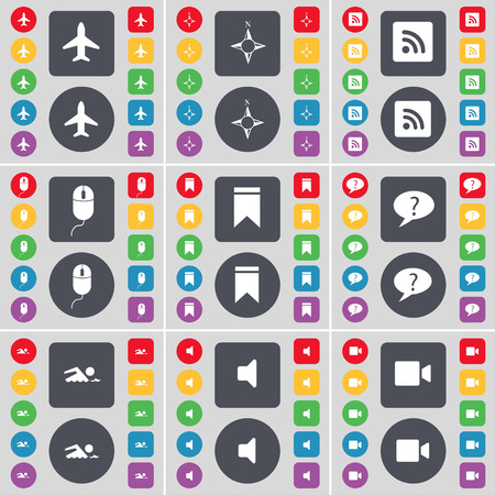 chat bubble: Airplane, Compass, RSS, Mouse, Marker, Chat bubble, Swimmer, Sound, Film camera icon symbol. A large set of flat, colored buttons for your design. Vector illustration