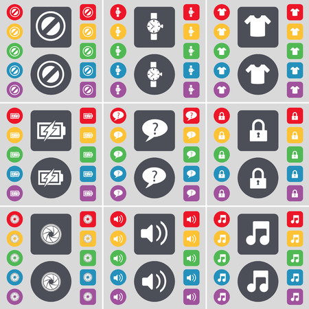 chat bubble: Stop, Wrist watch, T-Shirt, Charging, Chat bubble, Lock, Lens, Sound, Note icon symbol. A large set of flat, colored buttons for your design. Vector illustration