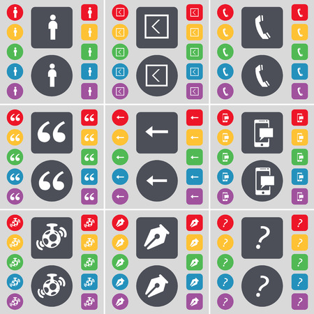 mark pen: Silhouette, Arrow left, Receiver, Quoting mark, SMS, Speaker, Ink pen, Question mark icon symbol. A large set of flat, colored buttons for your design. Vector illustration
