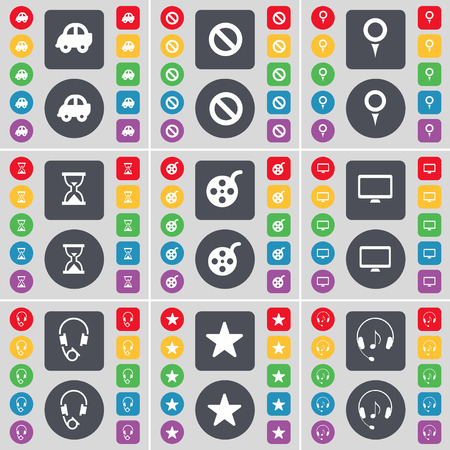 videotape: Car, Stop, Checkpoint, Hourglass, Videotape, Monitor, Headphones, Star icon symbol. A large set of flat, colored buttons for your design. Vector illustration