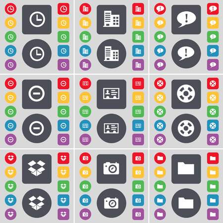 dropbox: Clock, Building, Chat bubble, Minus, Credit card, Videotape, Dropbox, Camera, Folder icon symbol. A large set of flat, colored buttons for your design. Vector illustration Illustration