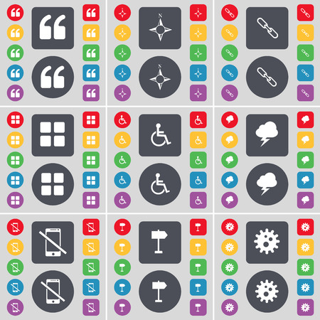 disabled person: Quotation mark, Compass, Link, Apps, Disabled person, Lightning, Smartphone, Signpost, Gear icon symbol. A large set of flat, colored buttons for your design. Vector illustration