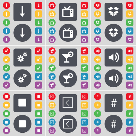 dropbox: Arrow down, Retro TV, Dropbox, Gear, Cocktail, Sound, Media stop, Arrow left, Hashtag icon symbol. A large set of flat, colored buttons for your design. Vector illustration Illustration