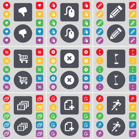 mouse hole: Dislike, Mouse, Pencil, Shopping cart, Stop, Golf hole, Gallery, File, Silhouette icon symbol. A large set of flat, colored buttons for your design. Vector illustration